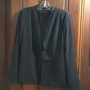 TAHARI BLAZER with LEATHER TRIM